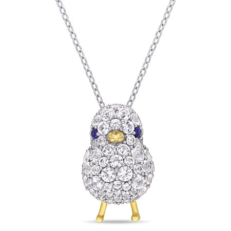 2-3/4 Carat T.G.W. Created Blue Sapphire and Created White Sapphire Sterling Silver Chick -