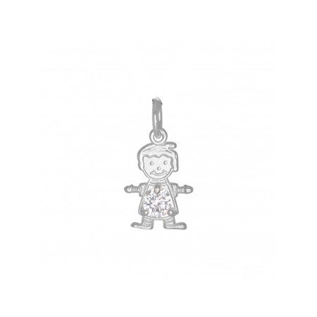 DTLA Sterling Silver CZ Simulated Birthstone Boy Charm Pendant for Baby and Children - April Birthstone Kid Sterling Silver Charm