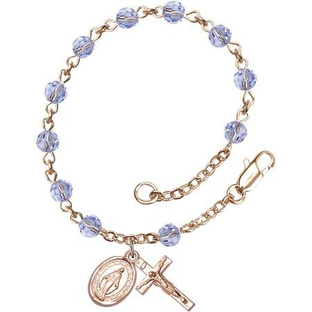 All 14 KT Gold Filled Catholic Rosary Bracelet with 5mm Light Sapphire Swarovski Beads