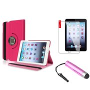 iPad Mini 3/2/1 Case, by Insten Hot Pink for Apple iPad Mini 3 2 1 360 Degree Rotating PU Leather Case w/Swivel Stand