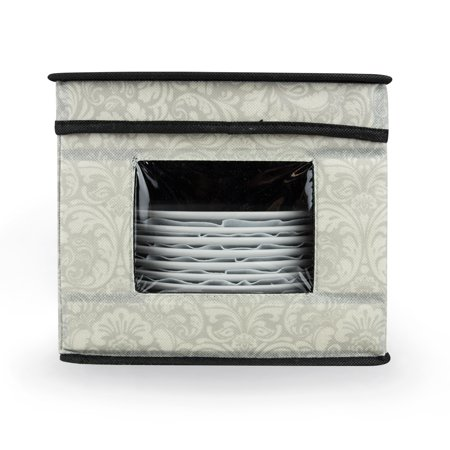 "9"" Cool Grey Damask Pattern Dish and Dessert Plate Storage Bin with Window"