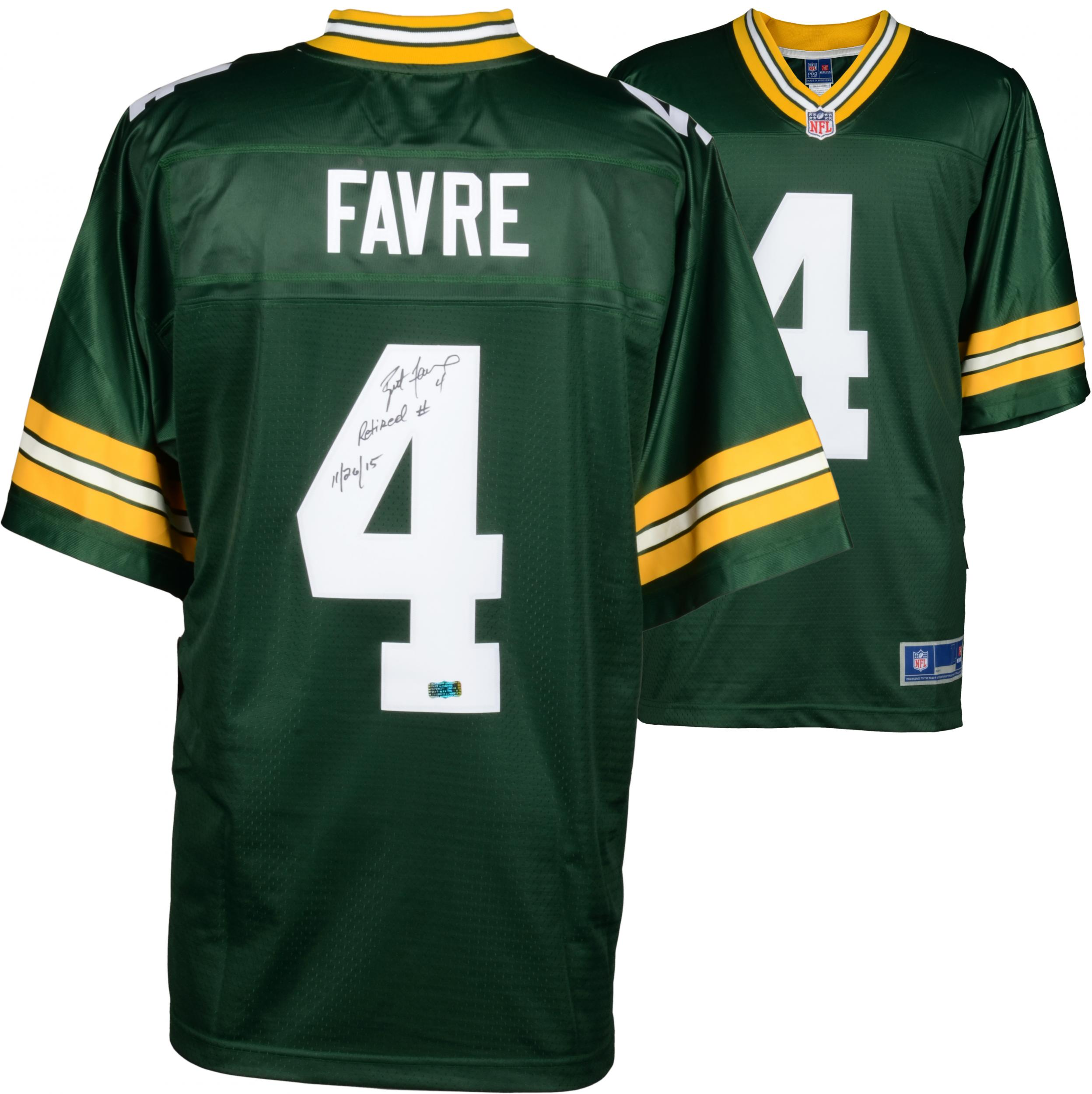 Brett Favre Green Bay Packers Autographed Green Authentic Jersey with Retired Number 11/26/15 Inscription - Fanatics Authentic Certified