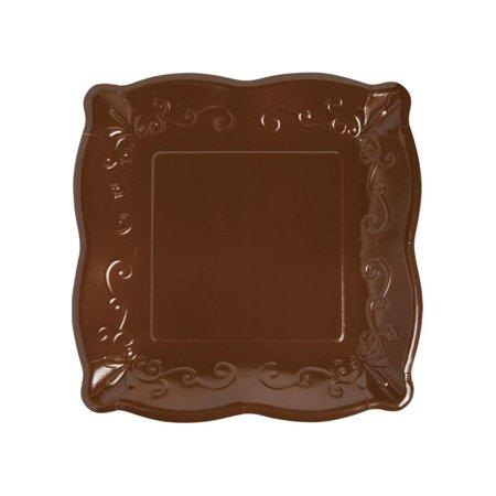 Brown Scalloped Edge Paper Dinner Plates