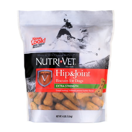 Nutri-Vet Hip & Joint Extra Strength Peanut Butter Biscuits for Dogs 4 lb- 500mg