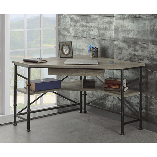 Turnkey Products LLC Griffeth Oak Corner Desk with Hutch