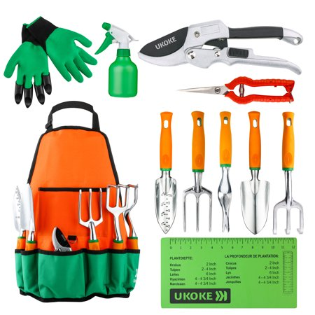 Garden Tools Set, UKOKE 12 Piece Aluminum Garden Tool Kit, Gardening Apron with Storage Pocket, Gardening Tool Set for Women Men, Garden Tools, Gardening - 10 Piece Insulated Tool Kit