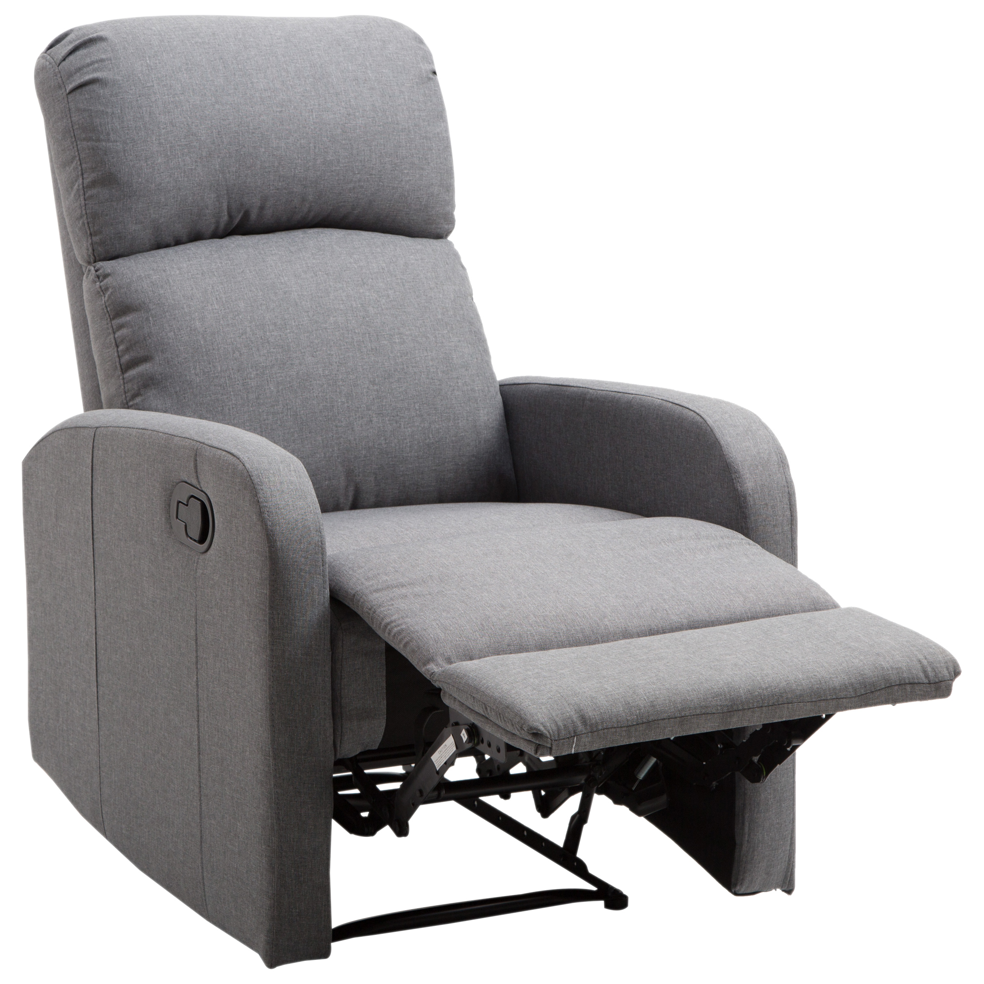 Homcom Linen Fabric Manual Recliner Lounger Chair With Footrest