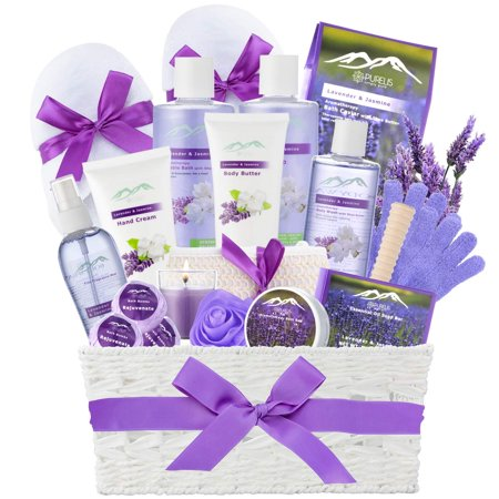 Lavender Spa (Jasmine Lavender Bath Gift Basket for Women! XL Spa Gift Basket for Relaxing at Home Spa Kit. Purelis Aromatherapy Bath Sets for Women are the #1 Choice in Spa Baskets and Womens Gift Baskets)