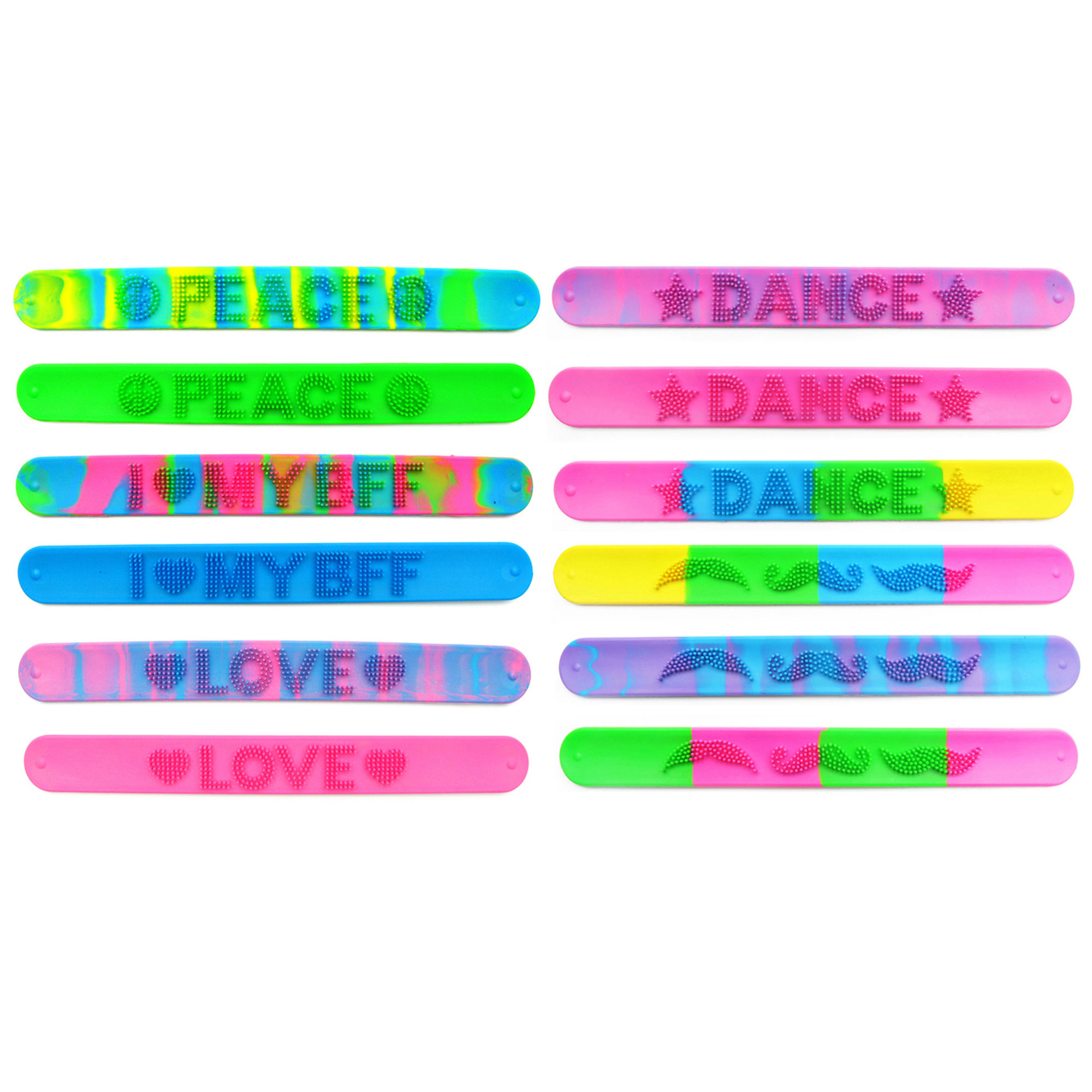Frogsac Set of 12 Soft Spikes Words/Icons Silicone Slap Bracelets - Great Party Favors