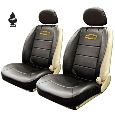 New Pair Of Chevy Bowtie Logo Universal Sideless Seat Cover W HeadRest And Air Freshener