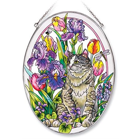 Amia Oval Suncatcher with Cat in Spring Garden Design, Hand Painted Glass, 6-1/2-Inch by 9-Inch