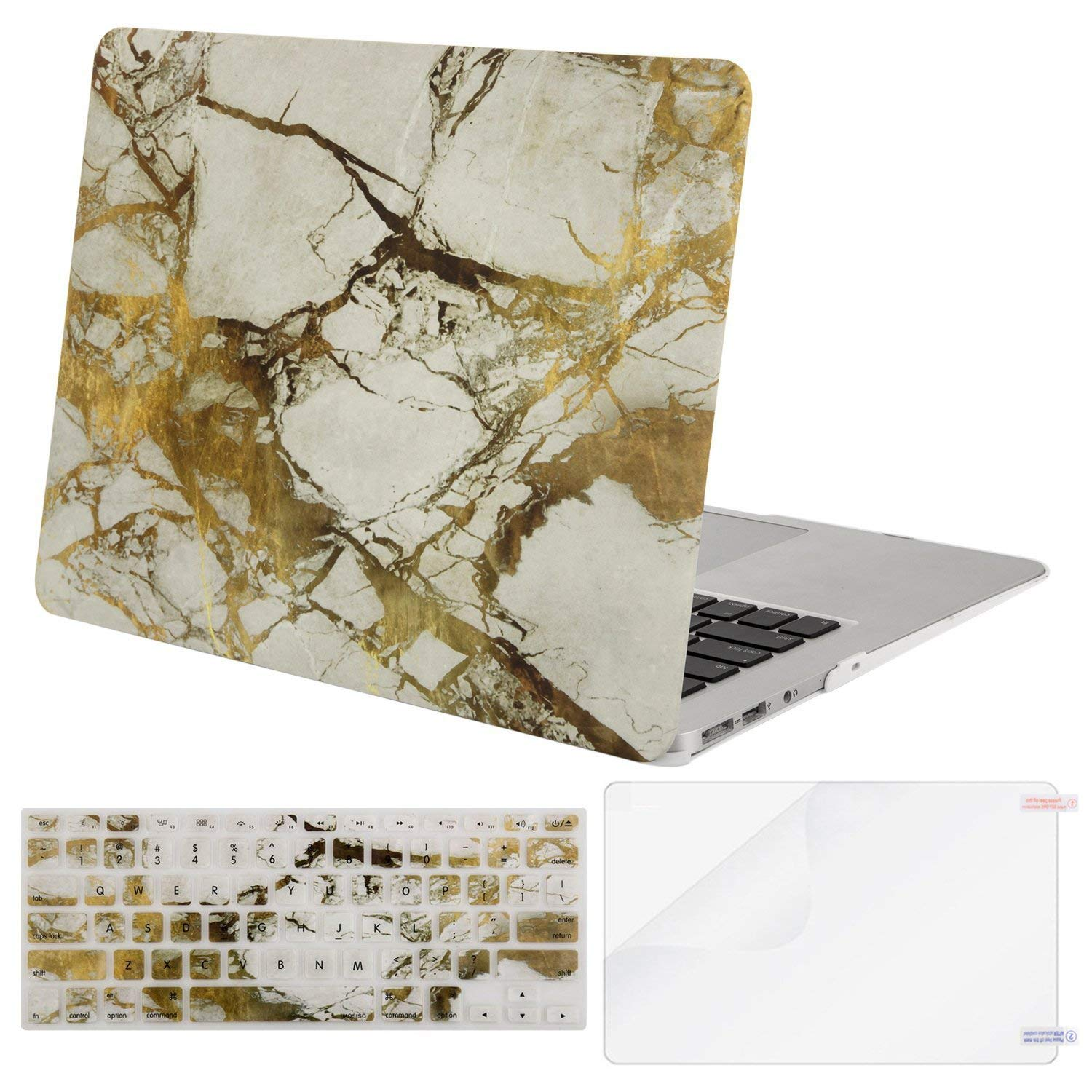 Mosiso MacBook Air 13 Inch Case (Release 2010-2017 Older Version), Plastic Pattern Hard Case & Keyboard Cover & Screen Protector Only Compatible MacBook Air 13 (A1369 & A1466), Clear-Marble