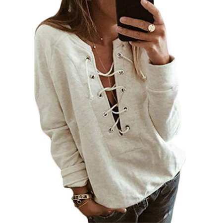 - Women Sexy Lace Up Long Sleeve Sweatshirt Deep V Neck Pullover Blouse Tops
