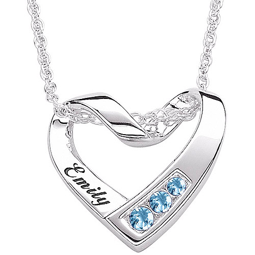 Personalized Sterling Silver or 14kt Gold over Sterling Silver Birthstone and Name Heart Pendant, 20""