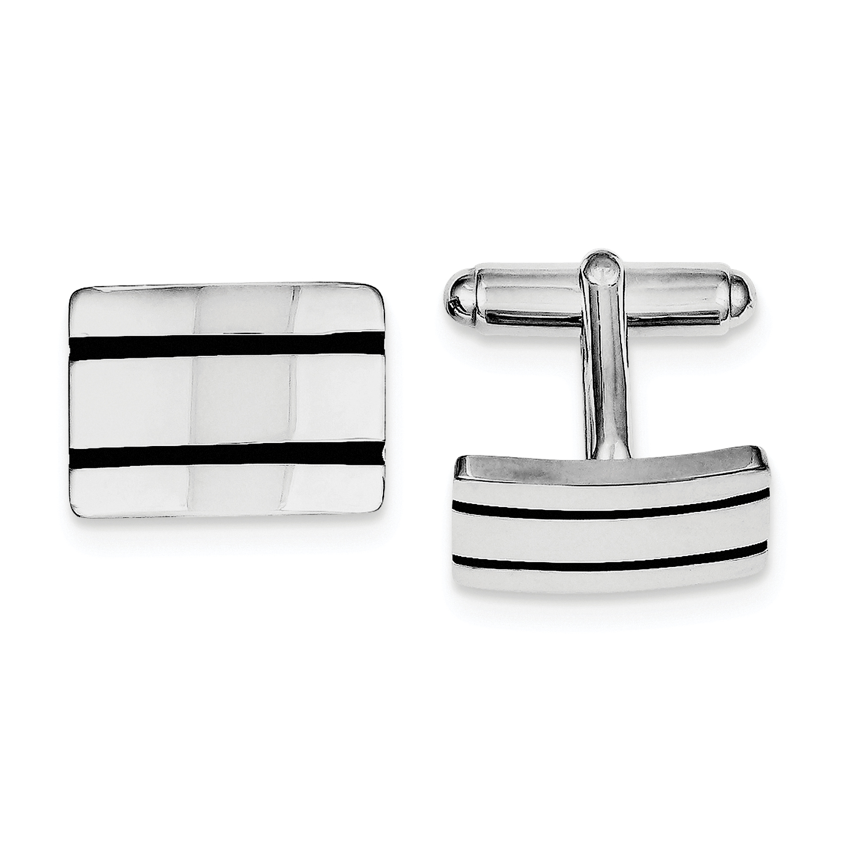 Roy Rose Jewelry Sterling Silver Black Enameled Cuff Links