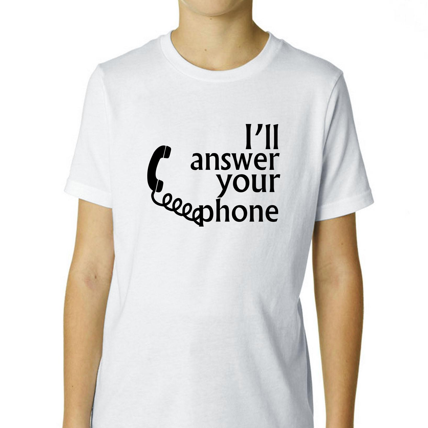 I'll Answer Your Phone Call - Old School Phone Boy's Cotton Youth T-Shirt