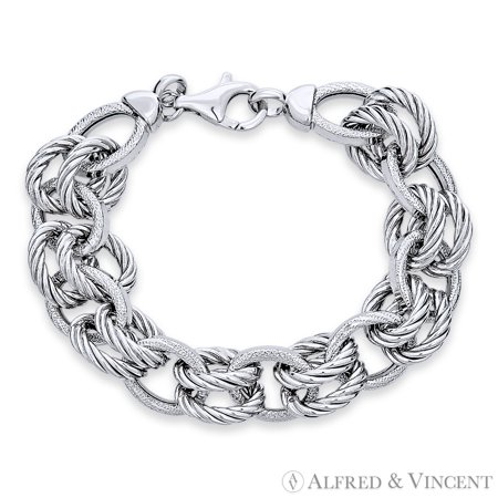13mm Twist-Oval Cable & 12.5mm Romy Link Italian Chain Bracelet in .925 Sterling Silver w/ Rhodium