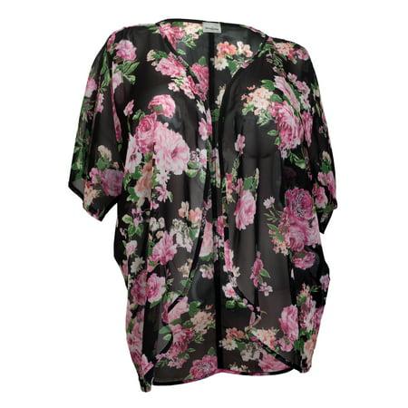 eVogues Plus size Floral Chiffon Kimono Cardigan Black - Walmart.com