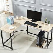 L-shaped Corner Computer Desk Workstation Home office Wood &Metal Small Size Black