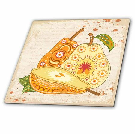 3dRose Ornate Vintage Stylized Pears Floral Fruit Illustration - Ceramic Tile, 6-inch