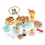 Birthday CAKE Play Food Set light blue 75Pcs Plastic Kitchen Cutting Toy Pretend Play