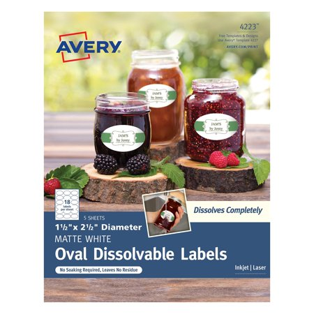 (Avery Oval Dissolvable Labels - Removable Adhesive - 1 1/2