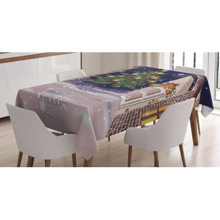 Christmas Tablecloth, Winter Setting Streets Filled with Snow Traditional Pine Tree Ribbons Carol Quote, Rectangular Table Cover for Dining Room Kitchen, 60 X 90 Inches, Multicolor, by Ambesonne