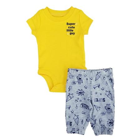 Carters Infant Boys 2-Piece Super Cute Little Guy Bodysuit & Pants Set - Guy Outfits