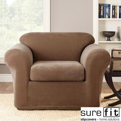 Sure Fit Stretch Metro Brown 2-Piece Chair Slipcover
