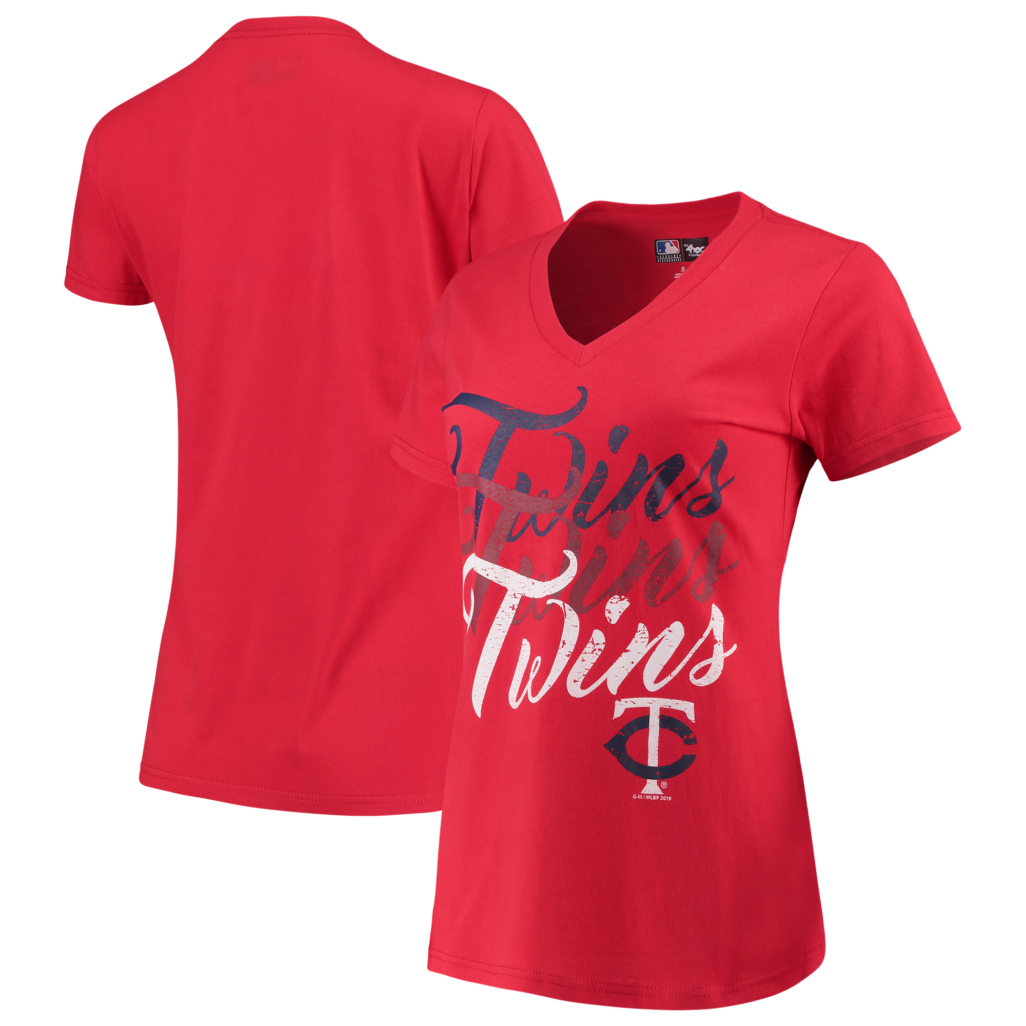 Minnesota Twins G-III 4Her by Carl Banks Women's Game On V-Neck T-Shirt - Red
