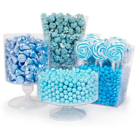 Light Blue Candy Buffet - Includes Hershey's Kisses, Candy Coated Popcorn, Lollipops & More (Buffet Candy)