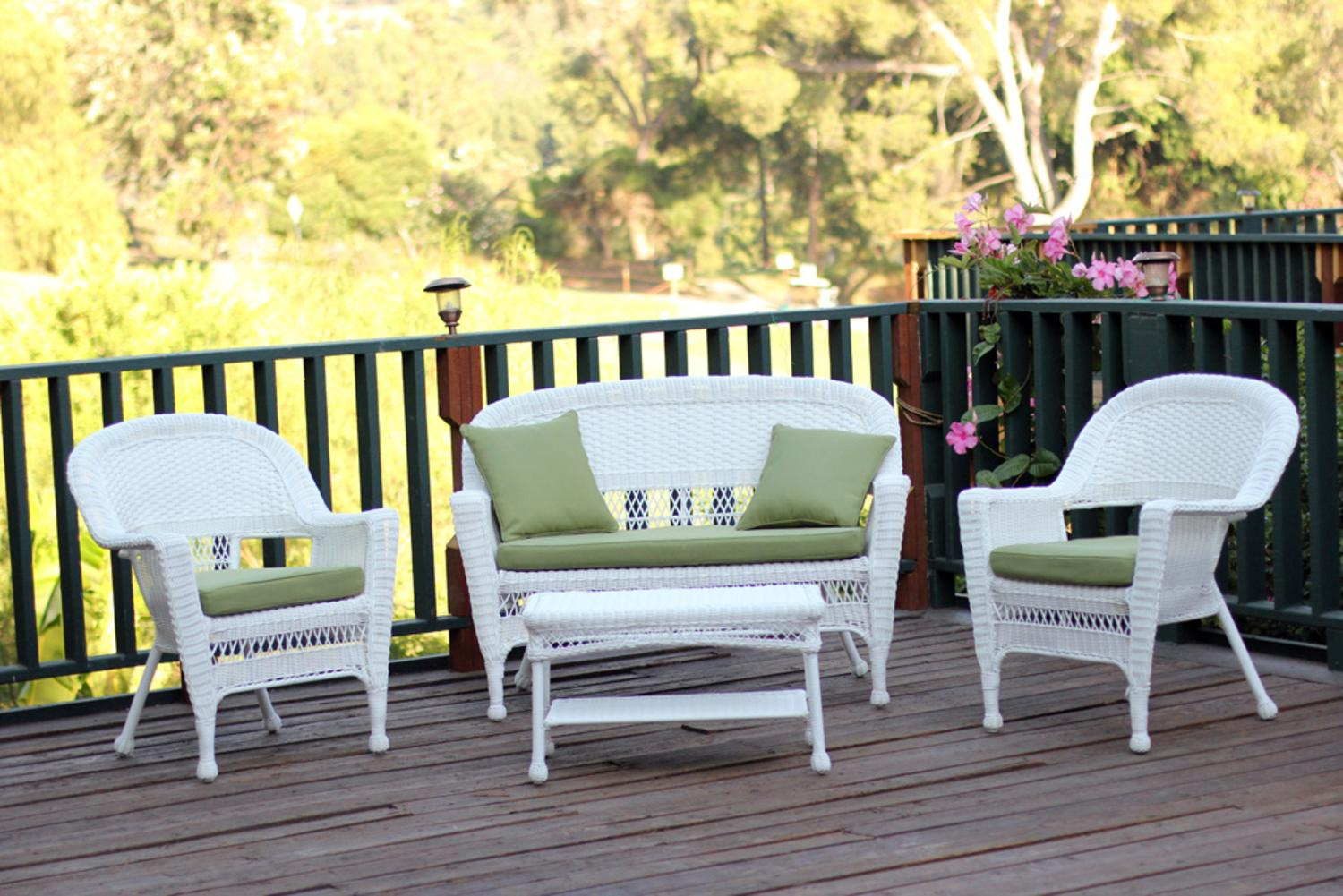 4-Piece Ryder White Wicker Patio Chair, Loveseat & Table Furniture Set Green Cushions by CC Outdoor Living