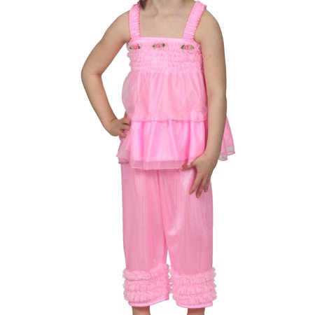 Laura Dare Baby Girls Bright Pink Bo Peep PJ Top and Pants w Scrunchie, Sz 12m - Little Pink Monster