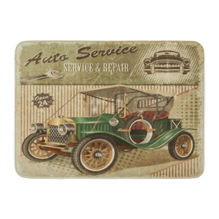 LADDKE Car Vintage Garage Retro 1910S 1920S 1930S Doormat Floor Rug Bath Mat 23.6x15.7 inch