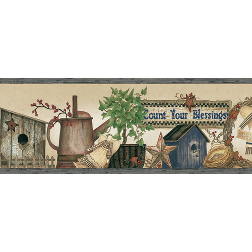 Brewster Home Fashions Pure Country Sharden Blessings 15' x 6.8'' Scenic 3D Embossed Border Wallpaper