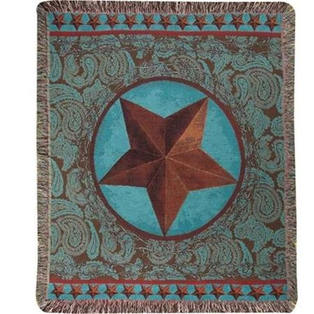 Manual Woodworkers & Weavers ATWSRD 50 x 60 in. Western Star Red Tap Throw