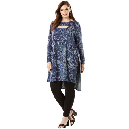 ff17a52f9a0 Roamans - Plus Size High-low Keyhole Ultra Tunic - Walmart.com