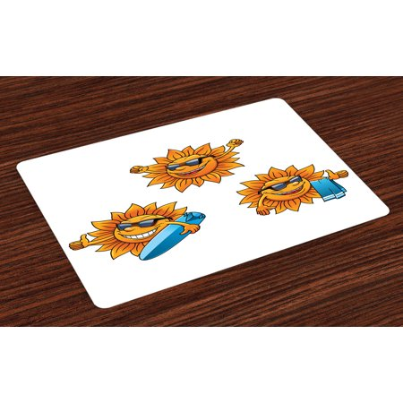 Cartoon Placemats Set of 4 Surf Sun Characters Wearing Shades and Surfboards Fun Hippie Summer Kids Design, Washable Fabric Place Mats for Dining Room Kitchen Table Decor,Orange White, by Ambesonne