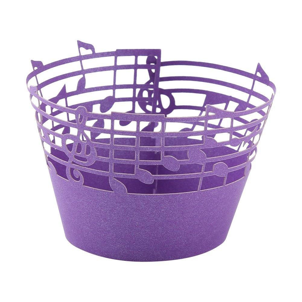 Music Notes Cupcake Wrappers Laser Cut Delicate Carved Beautiful Cup Cake Topper for Party Birthday Wedding Reception, Pack of 50 (Purple)