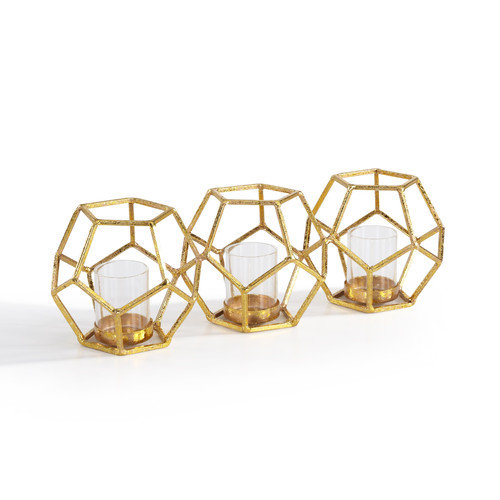 Sparkling Polyhedron Triple Candle Holder in Gold Finish by Danya B.
