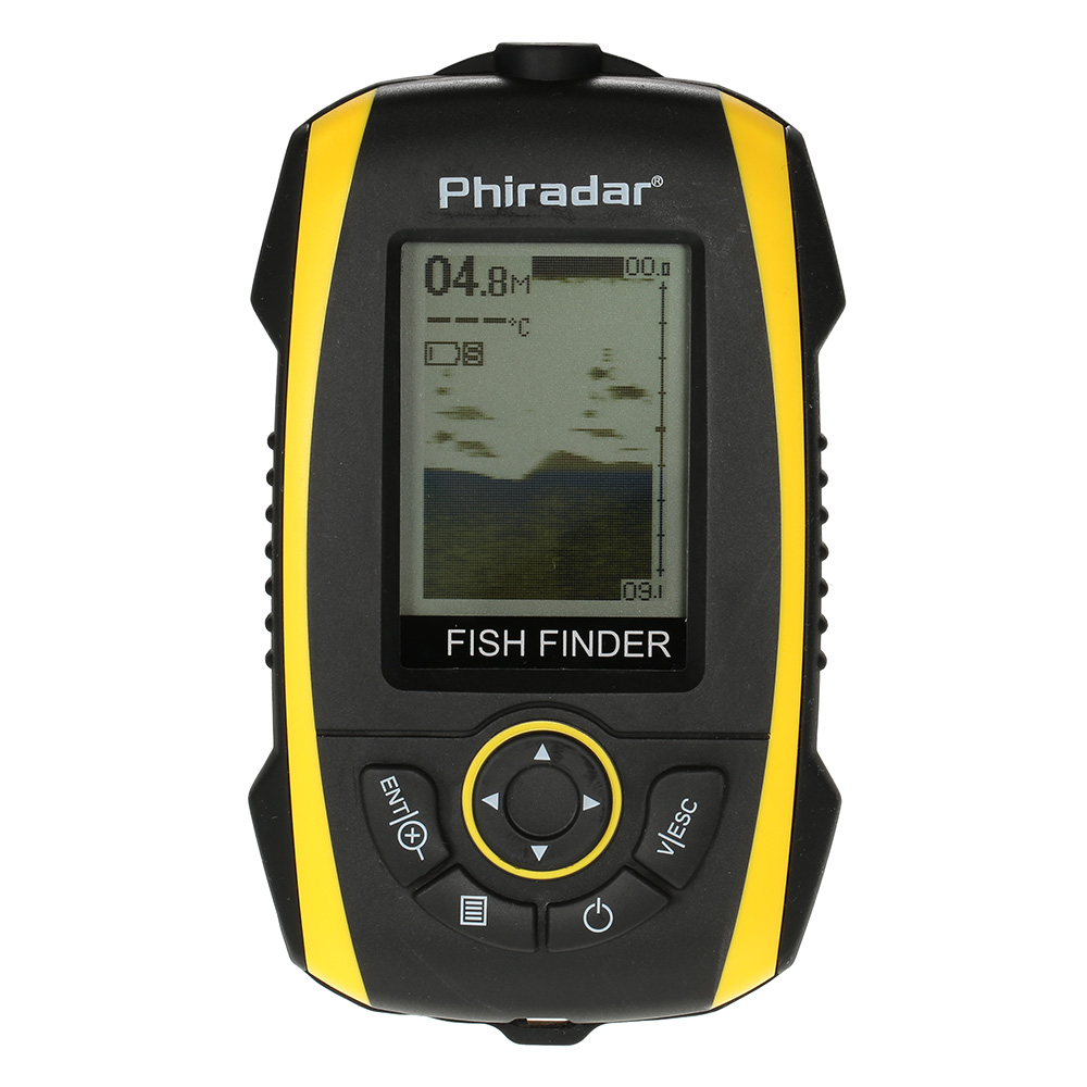 Portable Fish Finder LCD Display Sonar Sensor Transducer Fishfinder Fish Alarm Depth Indicator Fishing Finder Outdoor Electronic Fishing Tool Equipment