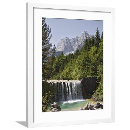 View Across Waterfall Over Weir on River Velika Pisnca to Prisank Mountain, Dolina, Slovenia Framed Print Wall Art By Pearl Bucknell