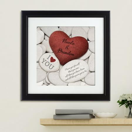100 Square Print - Personalized Love Rocks Square Framed Print