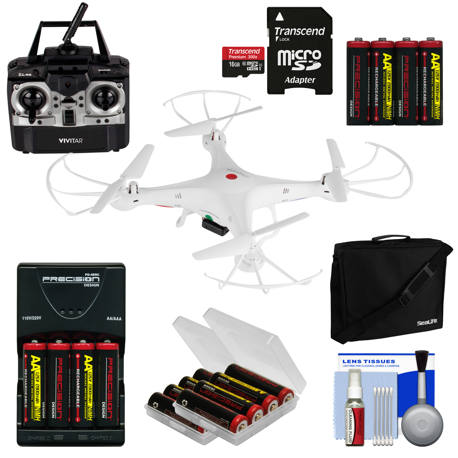 Vivitar DRC-120 Camera Aerial Quadcopter Drone (White) With 16GB Card + Case + Battery + Case + Kit