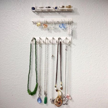 - AngelCity Adhesive Wall Mount Jewelry Organizer Earring Necklace Display Hanger Sticky Hooks Holder Rack