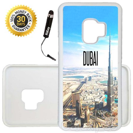 Custom Galaxy S9 Case (City Dubai) Edge-to-Edge Rubber White Cover Ultra Slim | Lightweight | Includes Stylus Pen by (Dubai Gifts)