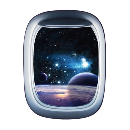 Spaceship Sticker - 3D Star Planet Spaceship Prints Wall Sticker PVC Decal Bedroom Art Wall Decorative Painting