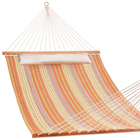 Lazy Daze Hammocks Fade-Resistant Quilted Hammock Double Size Spreader Bar Heavy Duty Stylish Hammock Swing Bed with Pillow, Cottony-Soft Fabric Material for Two Person, Orange & White Stripe ()