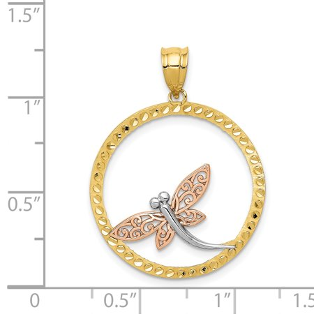 14k Yellow Rose Dragonfly Pendant Charm Necklace Insect Fine Jewelry Gifts For Women For Her - image 2 of 6