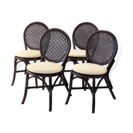 SK New Interiors Set of 4 Denver Dining Armless Accent Side Chair Handmade Dark Brown